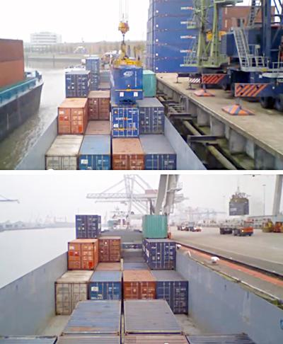 ロッテルダムのコンテナ船