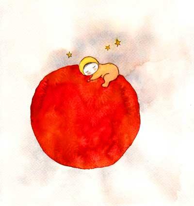 イラスト「赤い丸に抱きつく赤ちゃん」