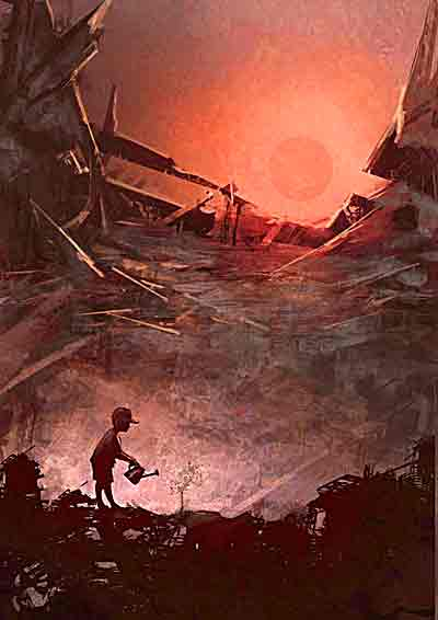 イラスト「瓦礫の街で芽に水をやる少年」