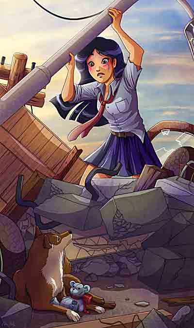 イラスト「瓦礫の中にペットを見つけた女子高生」