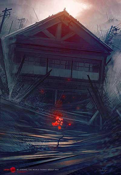 イラスト「瓦礫と化した家と鮮烈な紅葉」