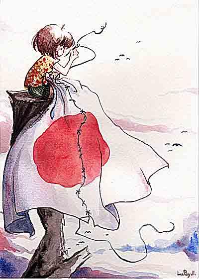 イラスト「破れた日章旗を縫い合わせる女の子」