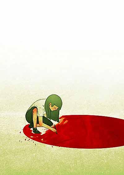 イラスト「地面に赤い丸を描く少女」