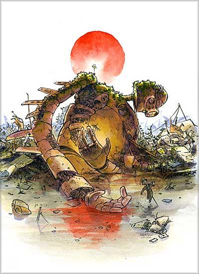 イラスト「瓦礫の中のラピュタ・ロボット」