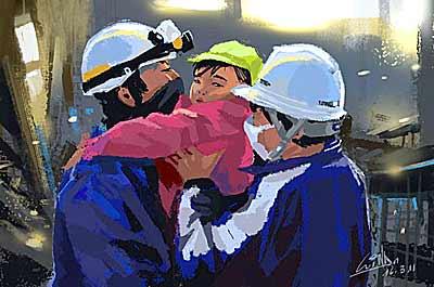 イラスト「幼子の救出する救助隊」