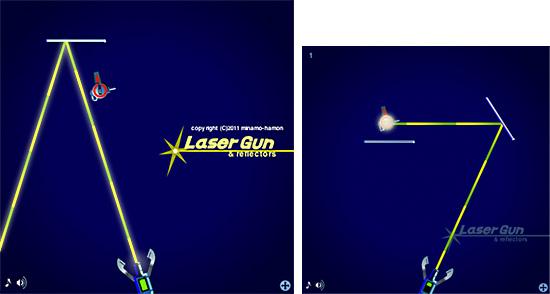 反射レーザー銃ゲーム