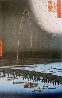 浮世絵 歌川広重の名所江戸百景「両国花火」